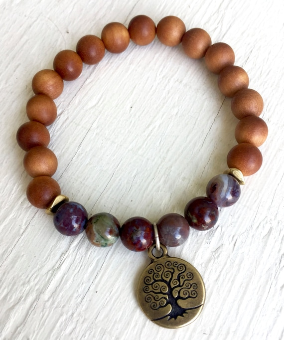 Tree of Life Charm Bracelet, Sandalwood, Red Lightning Agate Stretch Wrist Mala, Yoga Jewelry Root Chakra Jewelry