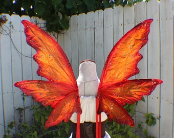 Custom Red, orange, yellow, burgundy and brown Autumn 6 wing fairy woodland wings