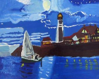 Sailboat at Night - Print