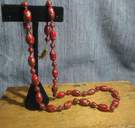 Vintage Murano glass cardinal red and gold knotted bead necklace, Venetian