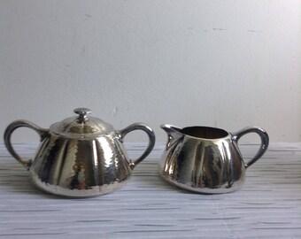 Meriden Cream & Sugar, Silverplate.  Vintage, Mission, Arts and Crafts Style.  #2402.