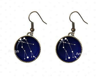 Earrings Constellation cabochons planet universe earth