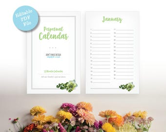 Printable Whimsical Perpetual Calendar - Birthday Calendar - Anniversary Calendar - Eternal Planner - Instant Download PDF