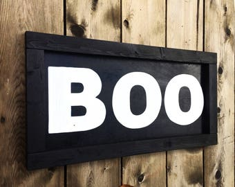 Halloween sign. Black and white horizontal BOO sign. Autumn sign, fall sign, fall decor, 2 ft by 1 ft