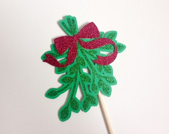 Glitter Mistletoe Photo Booth Prop . Mistletoe Photo Booth Prop . Photo Booth Prop . Mistletoe . Christmas . Holiday . Glitter . Single