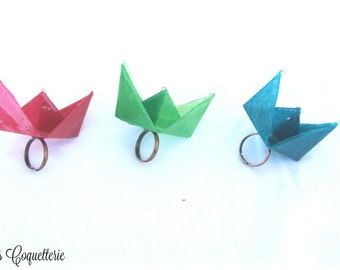 Paper origami boat rings,handmade rings, eye catching origami paper boat rings, unique jewelry,gift for her