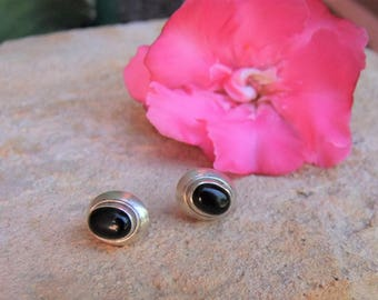 Silver earrings with black onyx. Silver Jewellery. Silver earrings with Black Onyx cabochons. Silver jewelry.