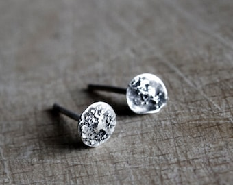 Sterling silver studs textured studs Rustic Moons