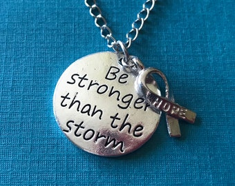 Hope Ribbon Necklace / Inspirational Gift / Breast Cancer Support / Be stronger than the storm Necklace with Hope Ribbon / Hope Jewelry