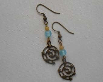 Tiny Stars Filigree beaded earrings golden yellow light blue P-306