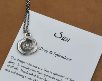 Sun - Victorian Wax Seal Necklace - Petite Sun charm necklace - 291