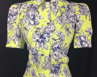 Reproduction 1940s Blouse in Chartreuse, Navy, Grey and White - Feedsack - Bust 34""