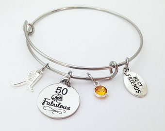 50 and fabulous, fifty and fabulous, 50th Birthday Gift Bracelet, 50 Birthday, 50th Birthday Gift for Women, Fifty Birthday, 50 th Birthday