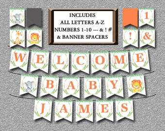 Safari Baby Shower Banner, Printable Includes ALL LETTERS A-Z and Numbers, Jungle Animal Banner Decorations- Watercolor Baby Shower - 001-A