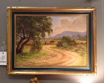 Vintage Original Oil on Board Signed by Listed California Artist Pearl Rice Mills, c1950