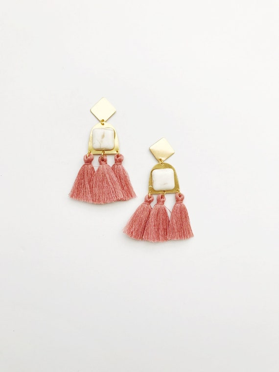 Ivory and Rose Tassel Earrings