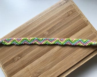 Green, pink, blue and yellow Friendship Bracelet