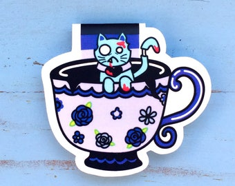 Zombie Kitty in a Teacup Magnetic Bookmark!