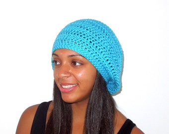 Slouchy Hat, Crochet, Adult, Women, Men, Turquoise, Unisex, Ready To Ship,