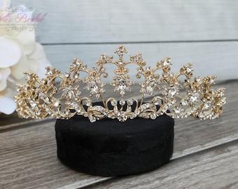 FAST Shipping!!! Gold Swarovski Tiara,  CristalTiara, Wedding Tiara, Crown, Princess Tiara, Quinceañera Tiara, Sweet 16 Tiara, Confirmation