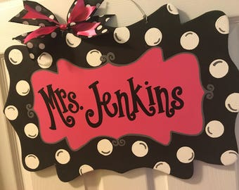 Personalized Polka Dot Door Hanger