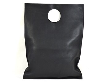 Lilly - Handmade Black Leather Shopper Bag SS17