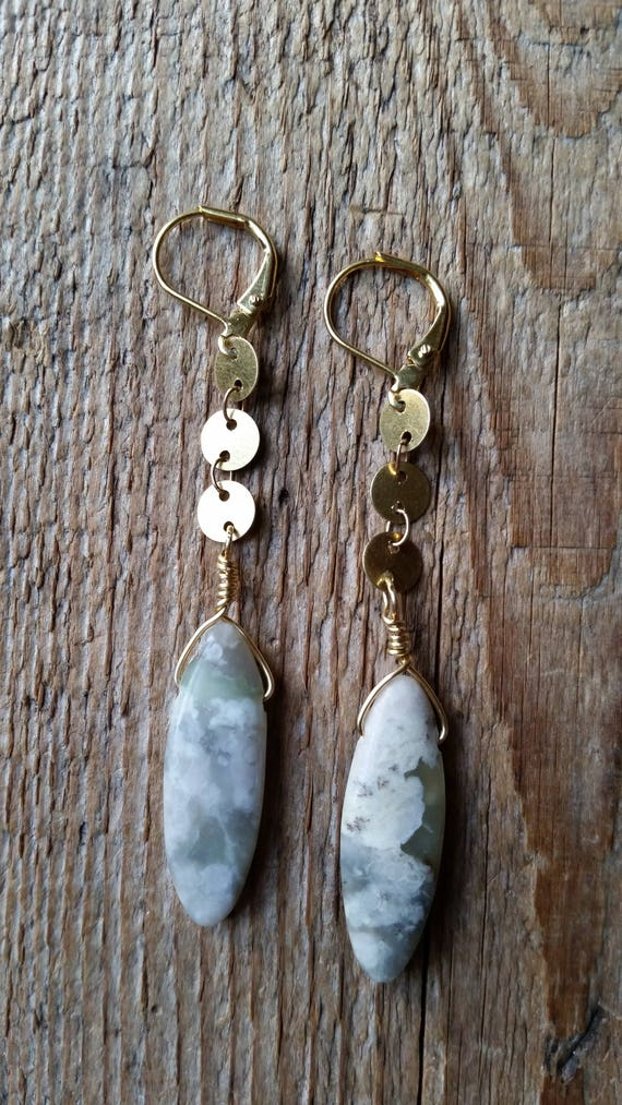 Raw brass disc chain with lotus jasper dangles