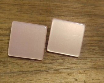 Pretty Pink Moonglow Squares Pierced Earrings