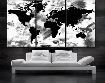 Large 30x 60 3 panels art canvas print world map large 30x 60 3 panels art canvas print beautiful world map black gumiabroncs Gallery