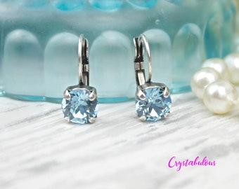 Blue Earrings, Crystal Earrings, Swarovski Earrings, Drop Earrings, Dangle Earrings, Bridesmaid Earrings, Swarovski Crystal Earrings, Gift