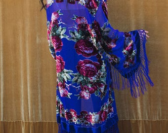 Burnout Velvet Kimono with Fringe, Piano Shawl,  Bridal Robe, Royal Blue