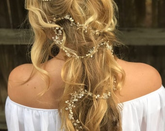 Long Hair Vine, Pearl Hair Vine, Crystal Hair Vine, Wedding Hair Accessory, Bridal Hair Wreath, Pearls Hair Crown, Rhinestone Hair Vine