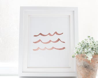 Rose Gold Art Print, Gallery Wall Decor, Wave Art Print, Wave Artwork, Sea Wall Art, Baby Print, Nursery Decor, Baby Girl Wall Art Poster