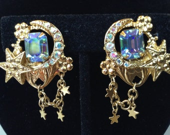 Kirk's Folly Aurora Borealis Rhinestone Dangle Clip On Earrings