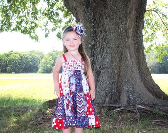 Red,white and blue patchwork dress