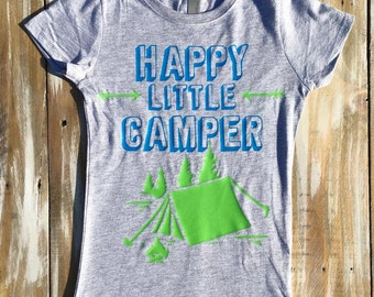 Happy Little Camper  Tent Camping Kid Girl Shirt