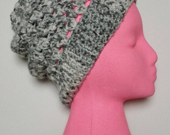 Sparkly Gray Slouchy Beanie