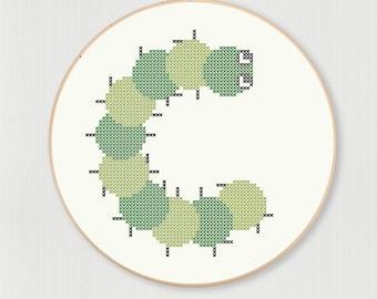 Cross stitch letter C Caterpillar pattern, instant digital download