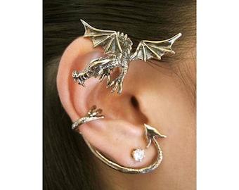 Dragon Ear Wrap Dragon Ear Cuff Bronze Guardian Dragon Ear Wrap Dragon Jewelry Non-Pierced Earring Dragon Earring Fashion Ear Cuff Statement