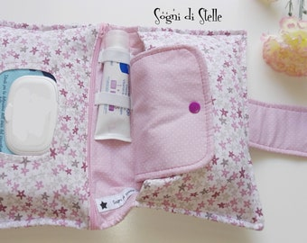 Diapers bag rose stars-babies-moms-new born idea-diaper clutch-fuchsia