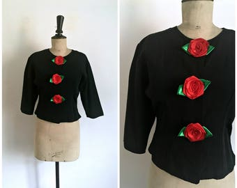 Vintage 1980s ROSES ROUGES Black Jacket / Size S