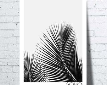 Displays two palms leaves, black and white, tropical wall art, print, modern, palm leaves.