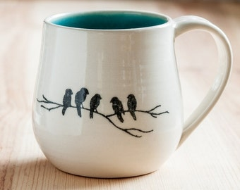 Made to Order : Porcelain Mug with crows on a branch