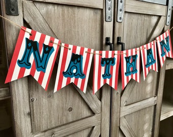 Circus or Carnival Red & White Striped Name Banner-Customizable