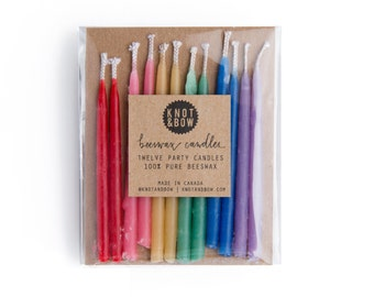 Hand-dipped Beeswax Birthday Candles / Rainbow