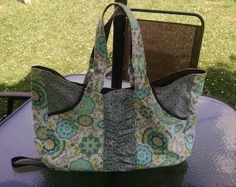 Light Green, Brown, Gray, Light Blue Tote Bag-Tote Bag Green-Tote Bag Brown-Lined Tote Bag- Cotton Tote Bag