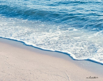 Perfect Morning Wave - Cape Cod - Nature - Fine art travel photography - Beach photography, peaceful seaside - azure, white, sand