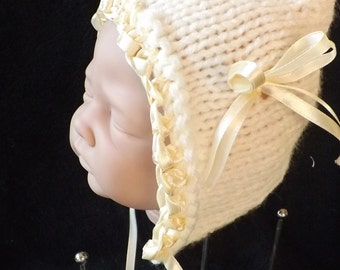 hand knitted cream baby girl  pixie hat  perfect photo prop  0/6 month