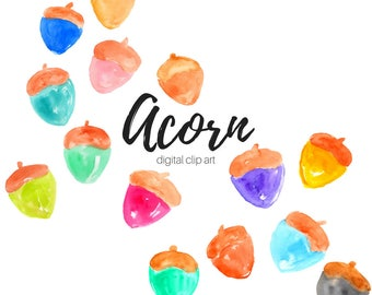 Acorn clipart - watercolor clipart - nature clipart - nut clipart - Commercial Use