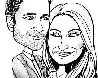"""Black and white two person  """"gift-quality"""" headshot caricature from photo"""